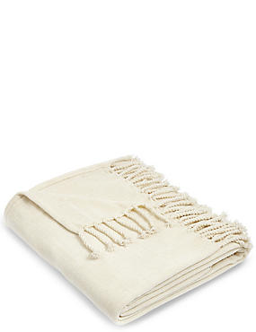 Plain Chenille Throw, CREAM, catlanding