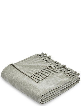 Plain Chenille Throw, SILVER GREY, catlanding