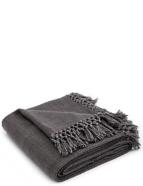 Weave Throw, CHARCOAL, catlanding