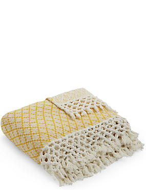 Elsie Tassel Throw, OCHRE, catlanding