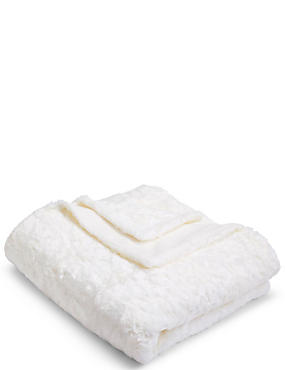 Textured Faux Fur Throw Large, CREAM, catlanding