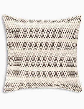 Geo Chenille Cushion, NATURAL, catlanding