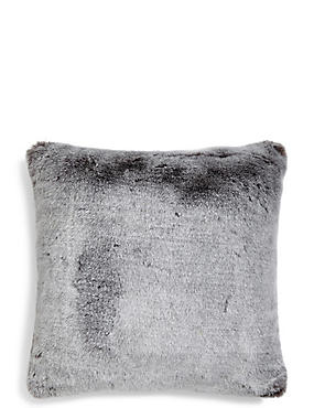 Faux Fur Tipped Cushion, , catlanding