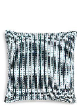 Woven Striped Cushion, TEAL MIX, catlanding