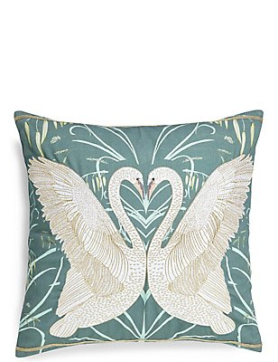 Swan Embroidered Cushion, , catlanding