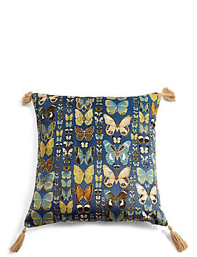 Embroidered Butterflies Cushion, NAVY MIX, catlanding