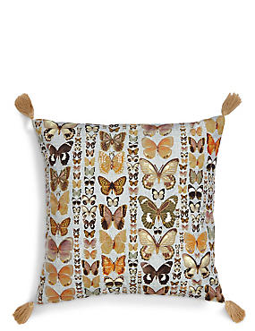 Embroidered Butterflies Cushion, GREEN MIX, catlanding