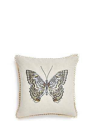 Botanical Butterfly Embroidered Cushion, , catlanding
