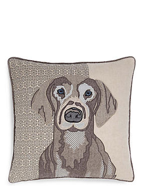 Applique Dog Print Cushion, , catlanding