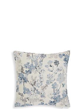 Vintage Floral Jacquard Cushion, BLUE MIX, catlanding