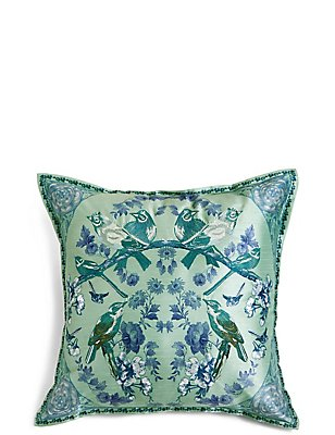 Mirrored Birds Embroidered Cushion, GREEN MIX, catlanding