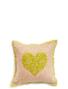 Heart Embroidered Cushion, , catlanding