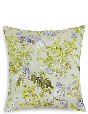 Mimosa Floral Embroidered Cushion, , catlanding