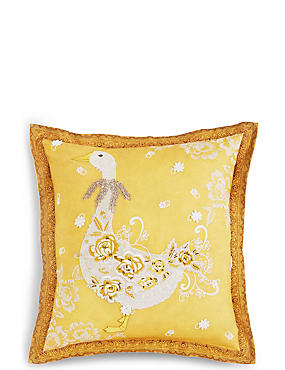 Lace Appliqué Goose Cushion, , catlanding