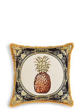 Pineapple Embroidered Cushion, , catlanding