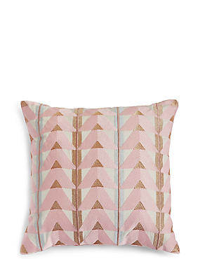 Triangle Embroidered Cushion, , catlanding