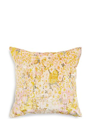 Crushed Floral Velvet Cushion, , catlanding