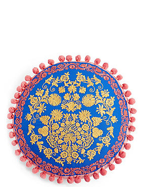 Bright Round Embroidered Cushion, , catlanding