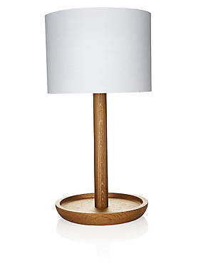 Conran Wooden Dish Table Lamp, , catlanding