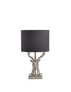 Stag Table Lamp, SILVER, catlanding
