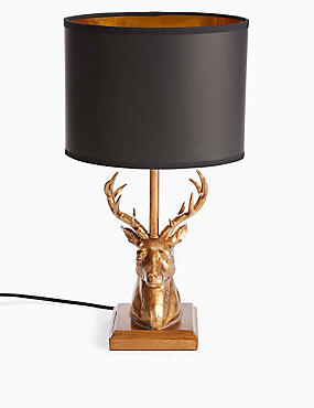 Stag Table Lamp, BLACK/GOLD, catlanding