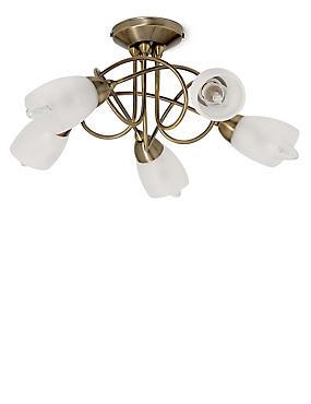 Andrea 5 Light Flush Lamp, ANTIQUE BRASS, catlanding