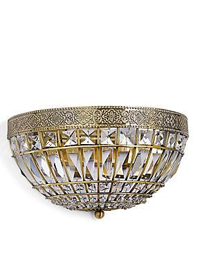 Gem Ball Flush Wall Light, ANTIQUE BRASS, catlanding