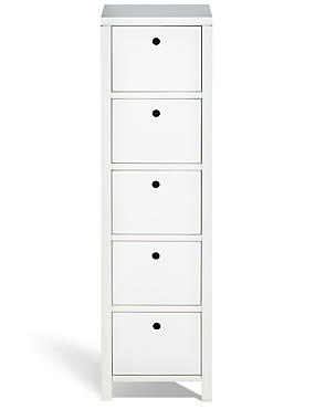 Nagoya 5 Drawer Tallboy White, , catlanding