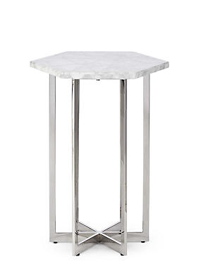 Ava White Marble Side Table, , catlanding