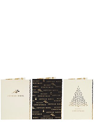 Gold Joyeux Noel Christmas Charity Cards Pack of 15, , catlanding
