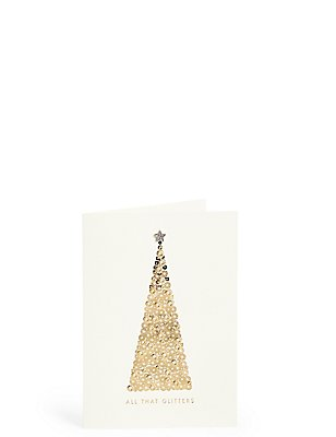 All That Glitters Gold Tree Christmas Charity Cards Pack of 6, , catlanding