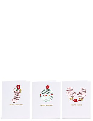 Lot de 15cartes de Noël caritatives amusantes avec texte «Merry & Bright», , catlanding