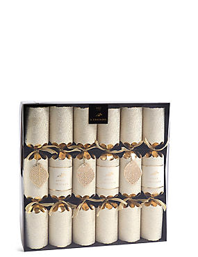 Gold Leaf Christmas Crackers Pack of 6, , catlanding