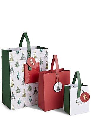 Lot de sacs cadeau de Noël rouges, , catlanding