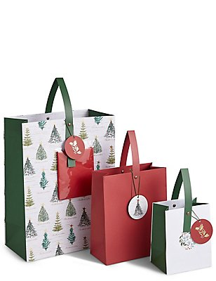 Red Multipack Christmas Gift Bags, , catlanding
