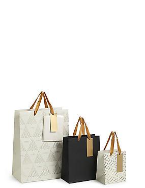 Gold Multipack Christmas Gift Bags, , catlanding