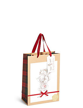 Traditional Santa Medium Christmas Gift Bag, , catlanding