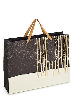 Gold Forest Large Christmas Gift Bag, , catlanding