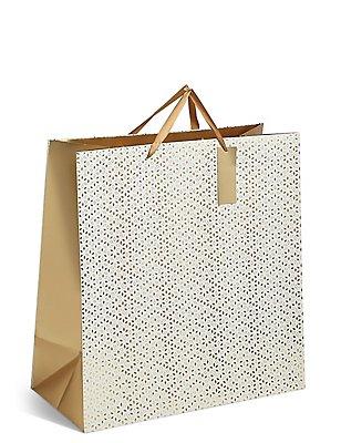 Gold Geometric Extra Large Christmas Gift Bag, , catlanding