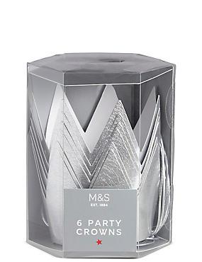 6 Silver Paper Crowns, , catlanding
