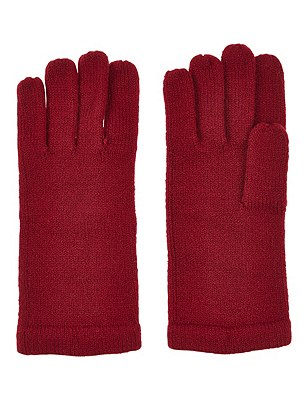 Cashmilon™ Knitted Gloves, RED, catlanding