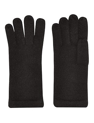 Cashmilon™ Knitted Gloves, BLACK, catlanding