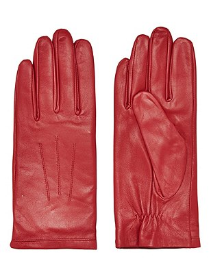 Leather Ruched Gloves, RED, catlanding