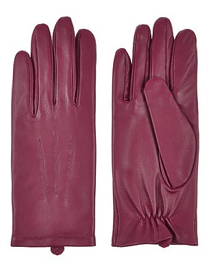 Leather Stitch Detail Gloves, BERRY, catlanding