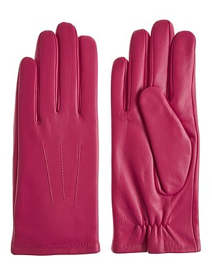 Leather Stitch Detail Gloves, HOT PINK, catlanding
