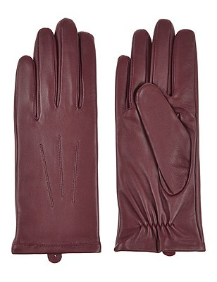 Leather Stitch Detail Gloves, BURGUNDY, catlanding