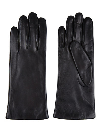 MARKS & SPENCER | Cashmere lined leather gloves in black |