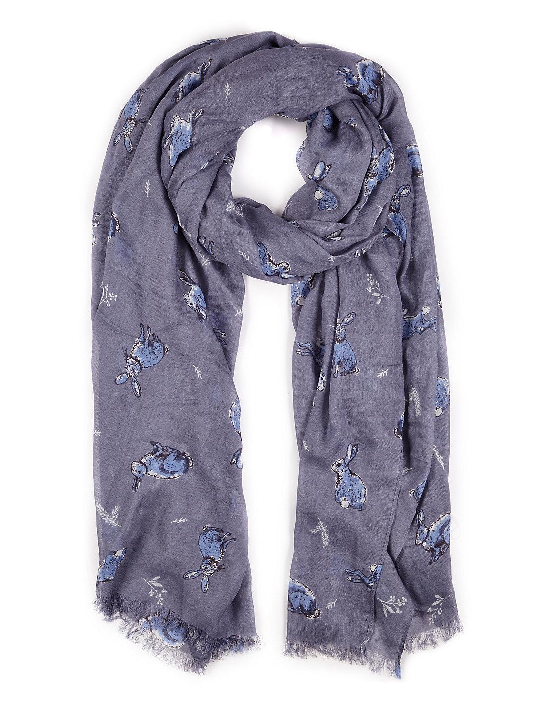 bunny print scarf with modal m u0026s