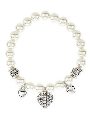 Pearl Effect Heart Charm Stretch Bracelet, , catlanding