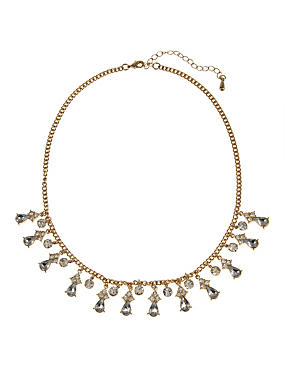Gold Gold Plated Crystal Droplets Necklace